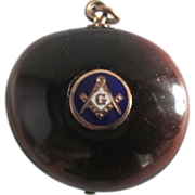 Victorian Masonic Freemasons Inlayed Gold Enamel Sea Bean Fob Pendant