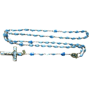 Rare Lady Of Lourdes Holy Water Blue Rosary Beads with Blessed Mother Sacred Heart of Jesus Christ