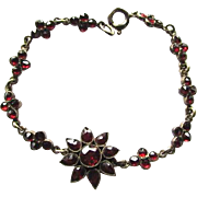 Art Deco Bohemian Rose Cut Garnet Floral Bracelet