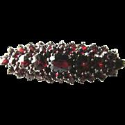 Stunning Victorian Silver Rose Cut Czech Bohemian Garnet Stacked Brooch Pin