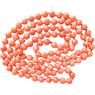 Vintage Hand Knotted Salmon Coral Bead Necklace Angel Skin Strand 30 Inches