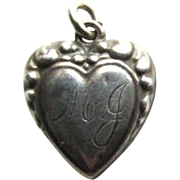 Rare Victorian Repousse Puffy Heart Charm Monogram MJ