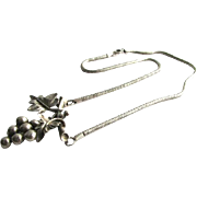 Rare Sterling Silver Walter Lampl Grapes Cluster Pendant Charm Necklace