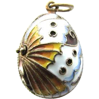 Sterling Silver Russian Enamel Easter Egg Pendant Large Charm Faberge Style