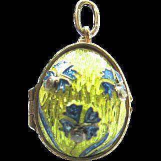 9K Gold Diamond Enamel Easter Egg Locket Pendant Charm Faberge Style