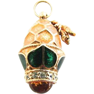 Vintage Gilt Sterling Silver Easter Egg Pendant Large Charm with Honeycomb and Bee Vermeil Amber Faberge Style