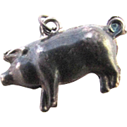 Victorian Sterling Silver English Puffy Lucky Pig Charm