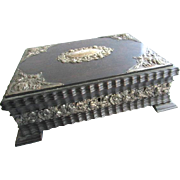 Carved Wood Repousse Silver Plate Mahogany Jewelry Music Box WIth Original Key Go To Sleep Little Baby
