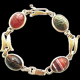 Vintage Krementz Genuine Gemstone Scarab Bracelet Gold Plated Tigers Eye Banded Agate Unakite Jasper Carnelian