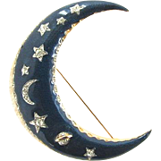 Celestial Blue Enamel Crescent Moon Rhinestone Brooch Stars Planet Saturn