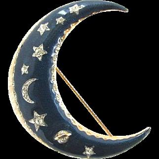 Celestial Blue Enamel Crescent Moon Rhinestone Brooch Stars Planet Saturn