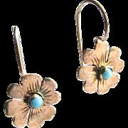 Victorian 10K Rose Gold Turquoise Cabochon Flower Kidney Wire Pierced Earrings