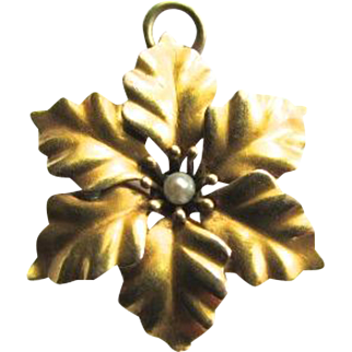 14K Gold Pearl Victorian Art Nouveau Morning Glory Flower Pin Pendant Fichu Lace