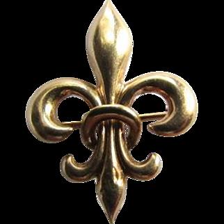 Victorian 10K Rose Gold Fleur De Lis Watch Pin Pendant