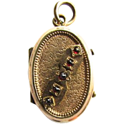 9K Rose Gold Garnet Victorian Oval Double Sided Photo Mourning Locket Pendant