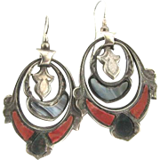 Rare Victorian Silver Scottish Agate Pierced Dangle Earrings