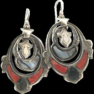 Rare Victorian Silver Scottish Agate Pierced Dangle Earrings