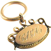 Victorian Edwardian Eras Gold Filled Monogram Fob CHM with Large Split Ring