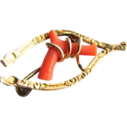 Victorian Coral Gold Filled Wishbone Pin Fichu Brooch