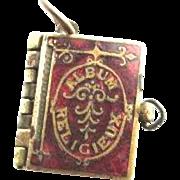 French Red Enamel Religious Book Charm Fob Pendant Picture Album Religieux Bible