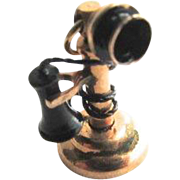 Edwardian Rose Gold Candlestick Telephone Large Charm Black Enamel Pendant Fob 3D