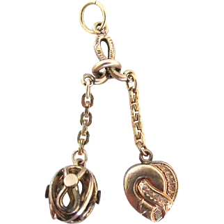 Victorian Rose Gold Filled Charms Double Fob Dangle Heart And Filigree Orb