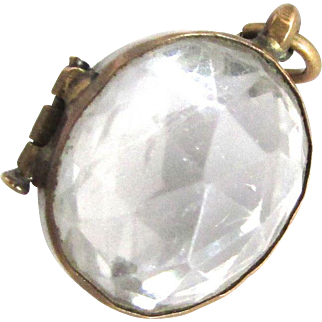 Antique Faceted Rock Crystal Locket Rare Oval Shape Pendant Charm Gold Filled
