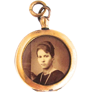 Gold Filled Photo Locket Celluloid Portrait Memory Mourning Pendant Fob