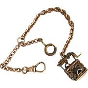 Stunning Detailed Tri Color Victorian Wishing Well Charm Fob Watch Chain Pendant