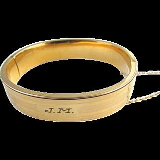 Hayward Art Deco Gold Filled Bangle Bracelet JM Monogram