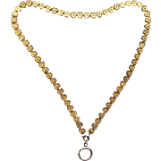 """Reduced Victorian Etruscan Revival Gold Filled Book Chain Bookchain Necklace 19.5"""" Long Large Bolt Spring Ring Clover"""