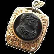 Reduced Victorian Sardonyx Carnelian Intaglio Fob Locket 1880's Pocket Watch Chain Fob Warrior