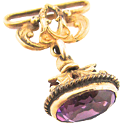 Victorian Amethyst Glass Fob Charm Pendant Child Size Gold Filled