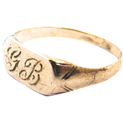 10K Yellow Gold Signet Ring Baby Child Midi Monogram GB Initials