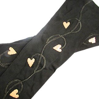 Pristine Gold Lame Hearts French Black Silk Evening Opera Gloves
