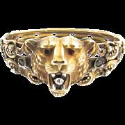 Victorian Lion Bangle Bracelet Amethyst Paste Seed Pearls Ruby Eyes HHC