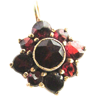 14k Gold Bohemian Rose Cut Garnet Flower Charm Pendant January Birthstone