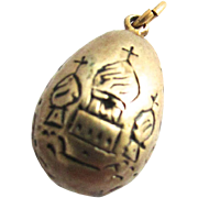Silver Russian Easter Egg Charm Pendant St Petersburg Steeples Cyrillic Letters XB