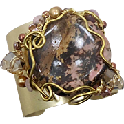Jasper Stone Cuff, Artisan Bracelet, Brass, Wire Wrapped, Brown Pink, Beaded, OOAK, Rustic, Organic, Big Statement, Handcrafted, Studio