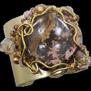 Jasper Stone Cuff, Artisan Bracelet, Brass, Wire Wrapped, Brown Pink, Beaded, OOAK, Rustic, Organic, Big Statement, Handcrafted, Studio