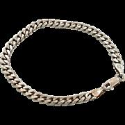 """Sterling Bracelet, Chain Bracelet, 5 mm, 7 1/2"""" Long, Milor, Italy, 925, Sterling Silver, Vintage Bracelet, Links Linked, Thick Links"""