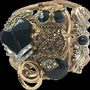 Owl Bracelet, Assemblage, Clamper Bangle, Artisan Cuff, Handcrafted Bracelet, OOAK, Rhinestones, Black Brown, Gold