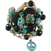 Turquoise & Black Onyx Cuff Bracelet - Skull Peace Sign - Big One of a Kind - Wire Wrapped - InVintageHeaven