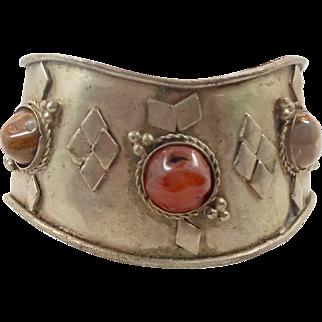Ethnic Bracelet, Agate Stones, Vintage Cuff, Silver Metal, Festival Jewelry, Boho Bohemian, Big Statement, Aged Patina, Tribal Jewel