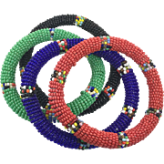 African Bracelets, Lot, 4 Set, Beaded Bangles, Vintage Bracelets, Seed Beads, Glass Beads, Red, Blue, Green, Black, Boho, Stack Stacking