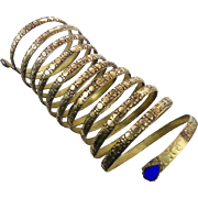 Gypsy Kuchi Bracelet, Vintage Snake Bracelet, Big Long, Afghan Ethnic, Turkoman, Belly Dance, Egyptian, Tribal, Statement, Gold Mixed Metal #1