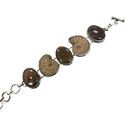 Ammonite Bracelet, Sterling Silver, Fossil, Big Statement, Petrified Wood, Stones, Brown, Unique Large, Rustic Boho, Heavy, Chunky, Linked