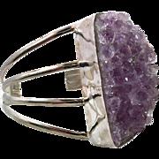 Amethyst Bracelet, Amethyst Crystal, Cuff Bracelet, Sterling Silver, Massive Huge, Big Statement, Purple Stone, Oversized, Vintage Bracelet