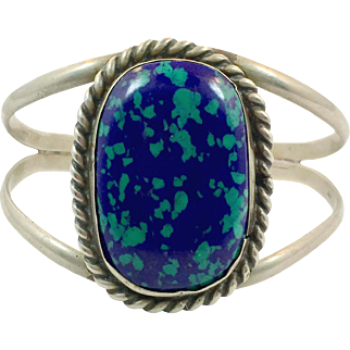 Azurite Cuff, Malachite, Sterling Silver, Cuff Bracelet, Hencho, Mexico, Vintage, Big Stone, Blue Stone, Green Stone, Heavy Silver, Huge