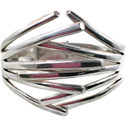 Sterling Silver Cuff, Mexico, Dulce Plateros, Vintage Bracelet, Modernist, Clamper Bangle, Heavy Silver, Contemporary, Big, Wide, 925